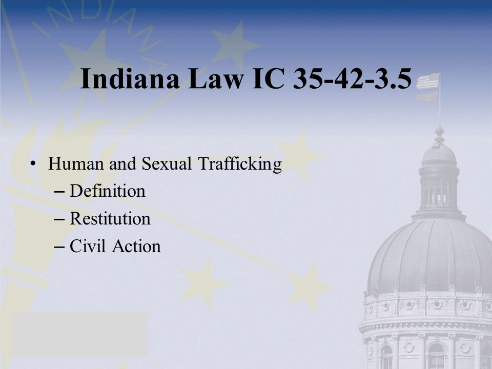 Indiana Law IC 35-42-3.5 Human and Sexual Trafficking Definition
