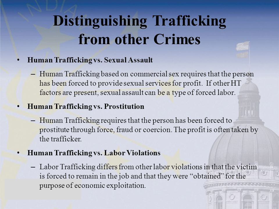Distinguishing Trafficking from other Crimes