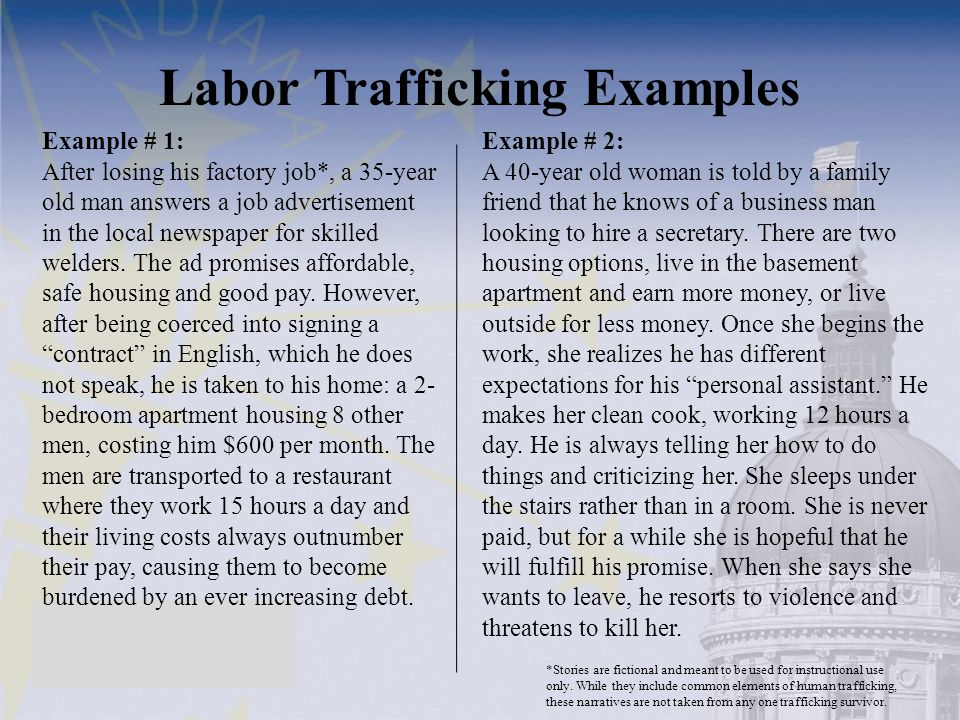Labor Trafficking Examples