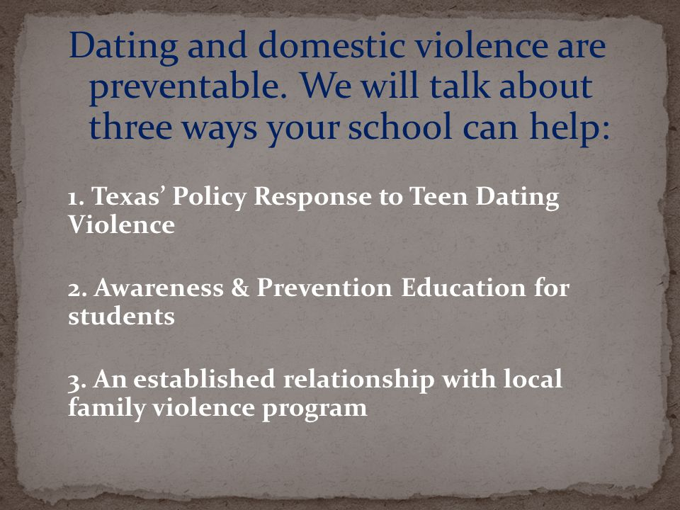 Dating violence education requirements in texas schools