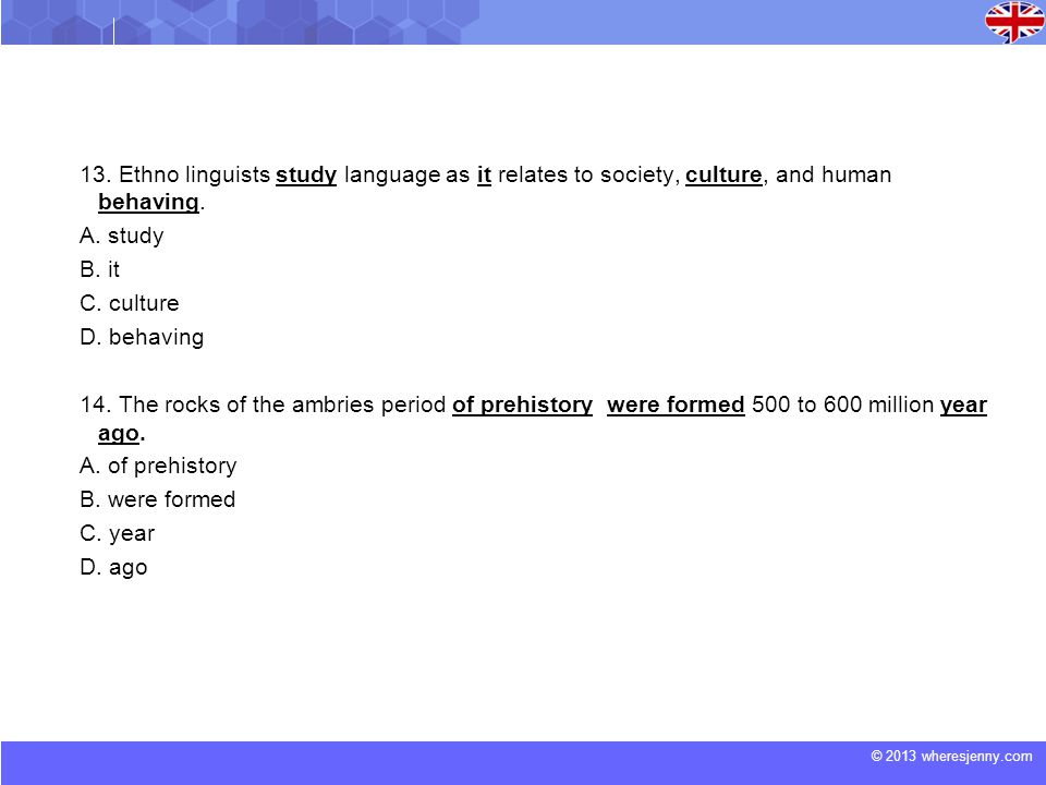 13. Ethno linguists study language as it relates to society, culture, and human behaving.