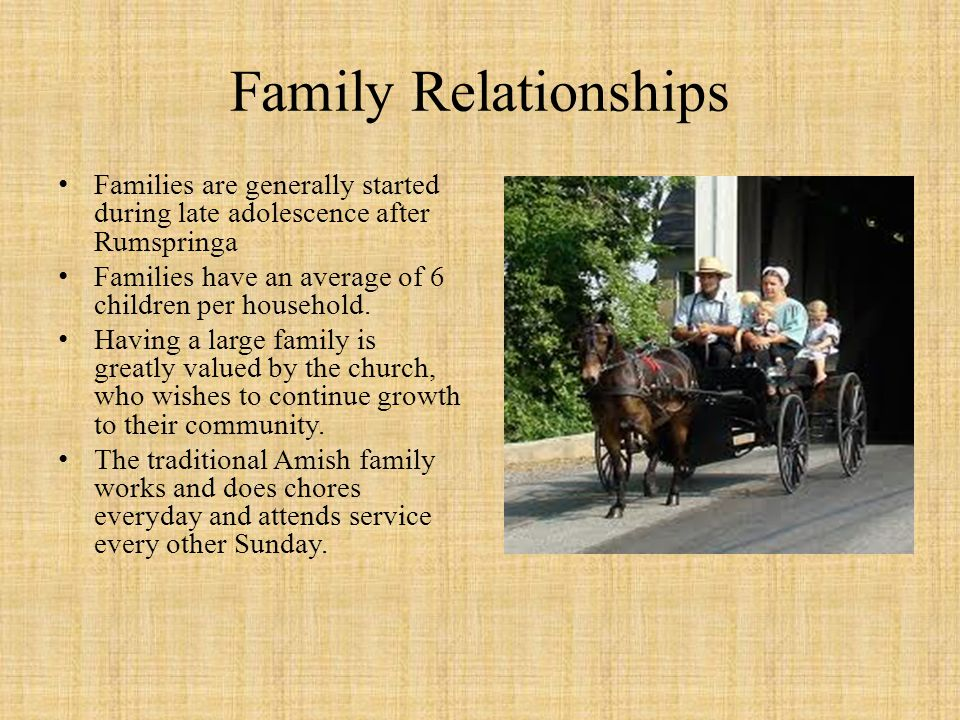 Family Relationships Families are generally started during late adolescence after Rumspringa. Families have an average of 6 children per household.