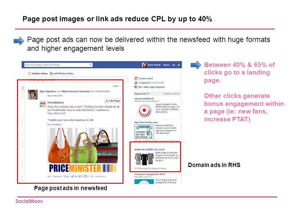 Page post images or link ads reduce CPL by up to 40%