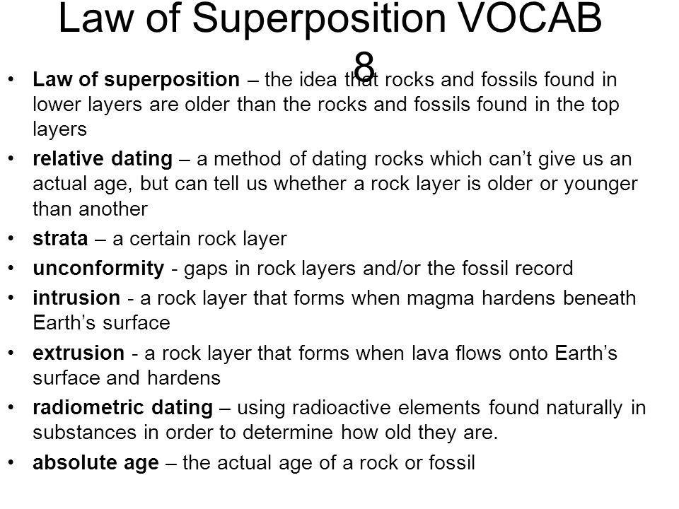 Law of Superposition VOCAB 8