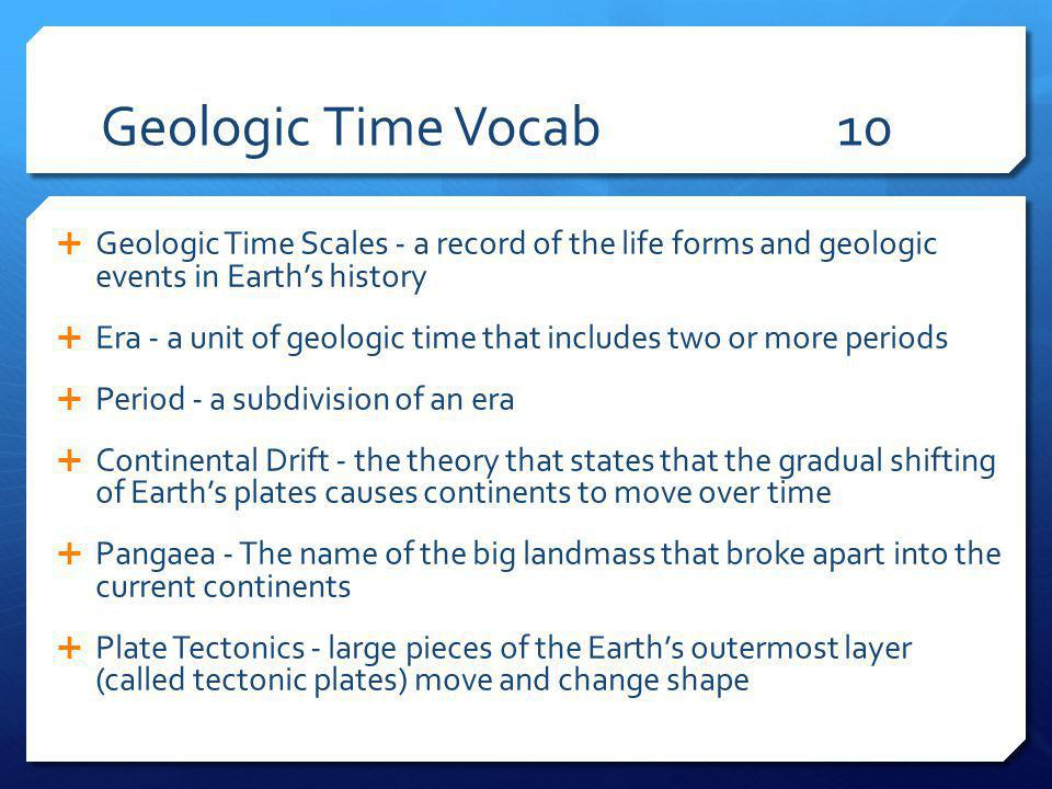 Geologic Time Vocab 10 Geologic Time Scales - a record of the life forms and geologic events in Earth's history.