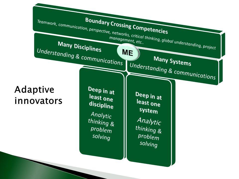 Adaptive innovators ME Many Disciplines Many Systems
