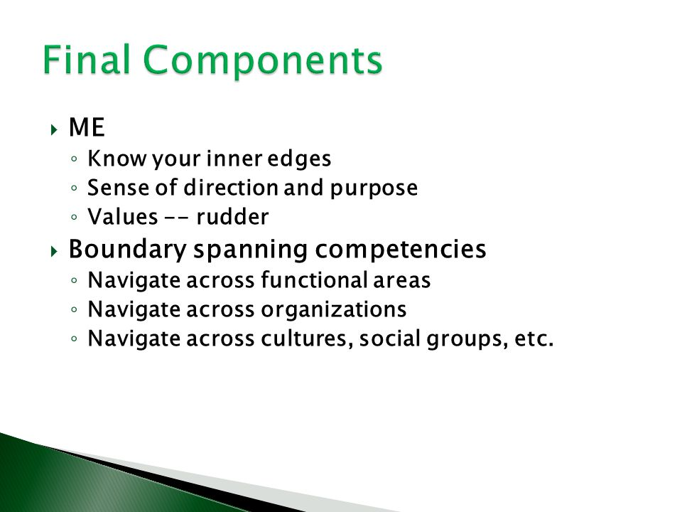 Final Components ME Boundary spanning competencies