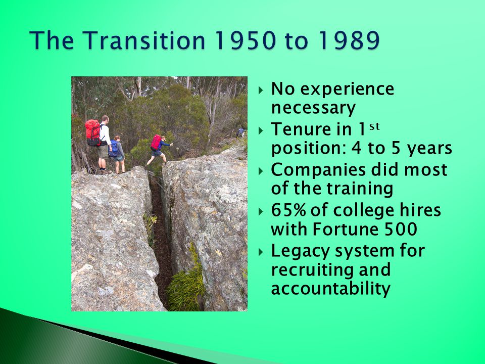 The Transition 1950 to 1989 No experience necessary
