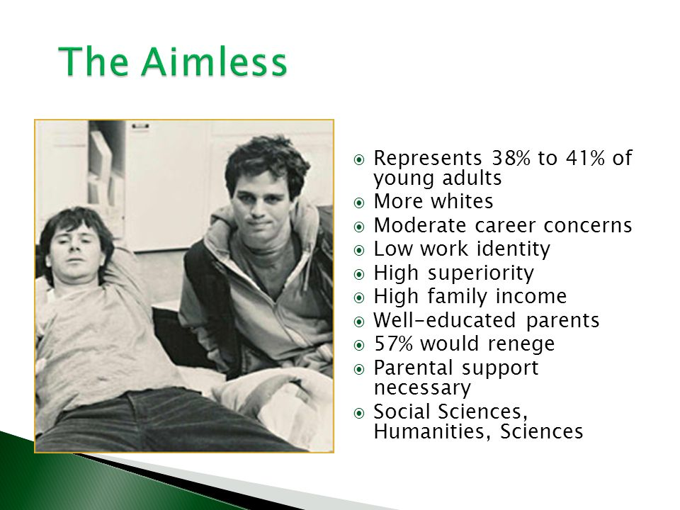 The Aimless Represents 38% to 41% of young adults More whites