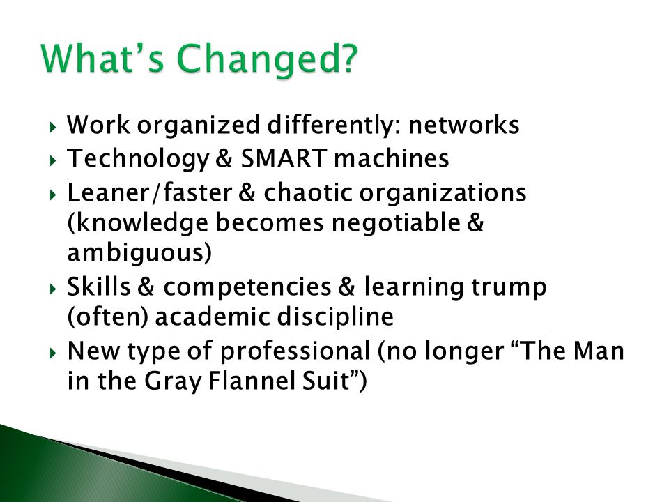 What's Changed Work organized differently: networks