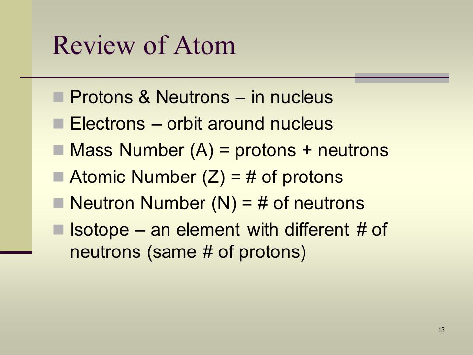 Review of Atom Protons & Neutrons – in nucleus