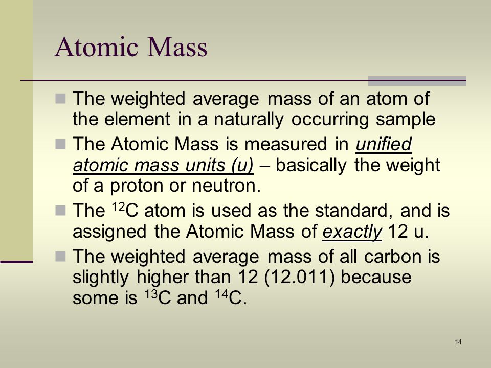 Atomic Mass The weighted average mass of an atom of the element in a naturally occurring sample.