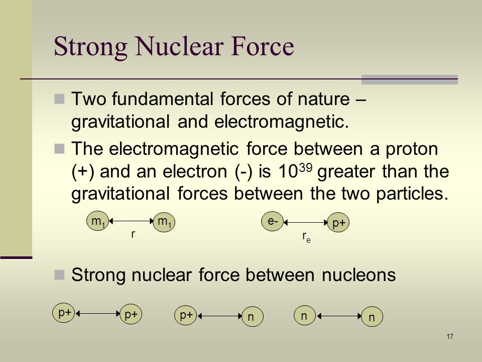 Strong Nuclear Force Two fundamental forces of nature – gravitational and electromagnetic.