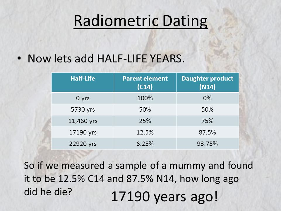 Radiometric Dating 17190 years ago! Now lets add HALF-LIFE YEARS.