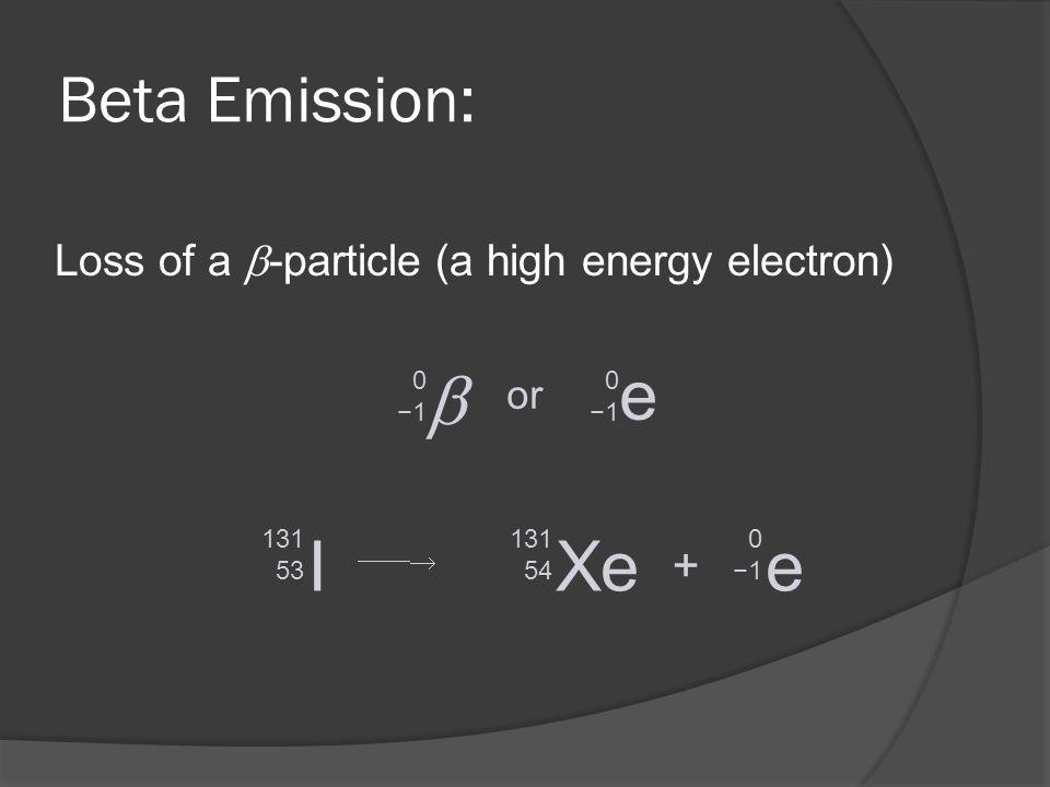  e I Xe e Beta Emission: +