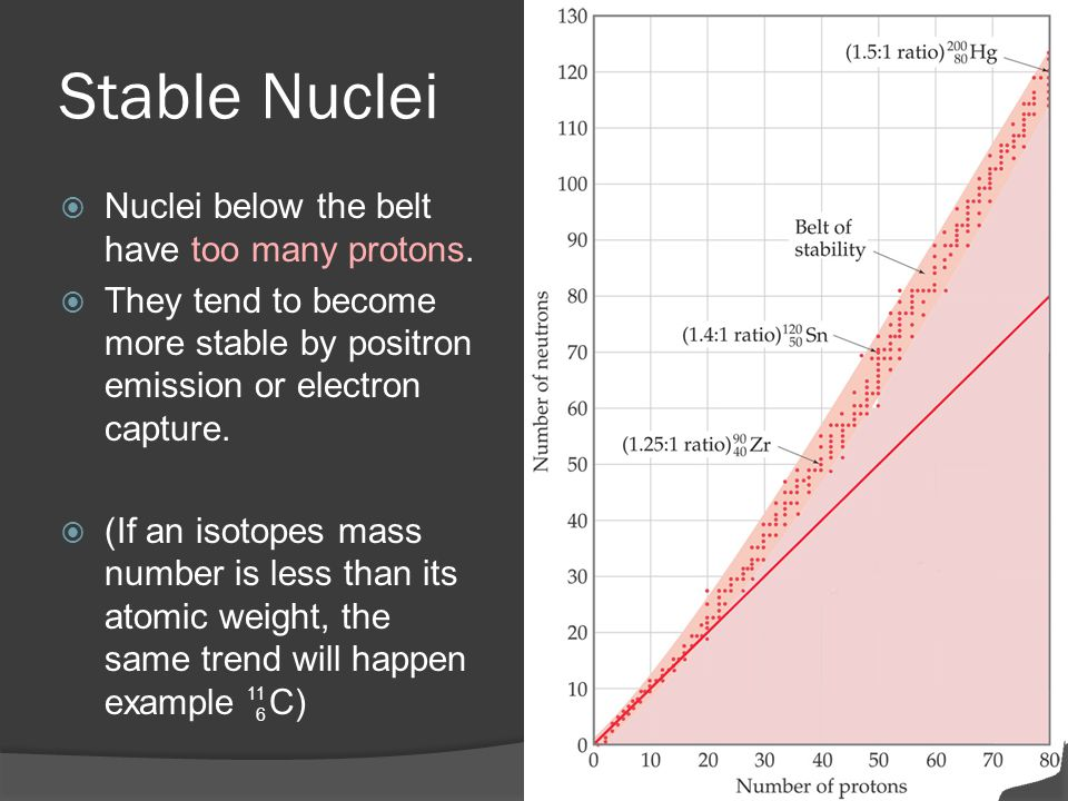Stable Nuclei Nuclei below the belt have too many protons.