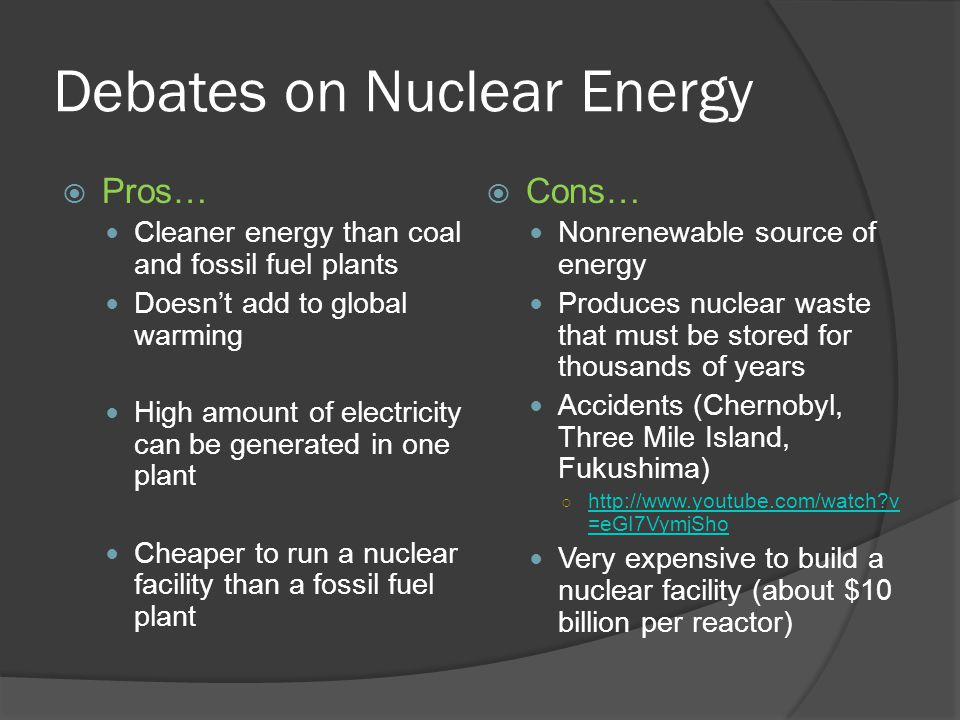 Debates on Nuclear Energy