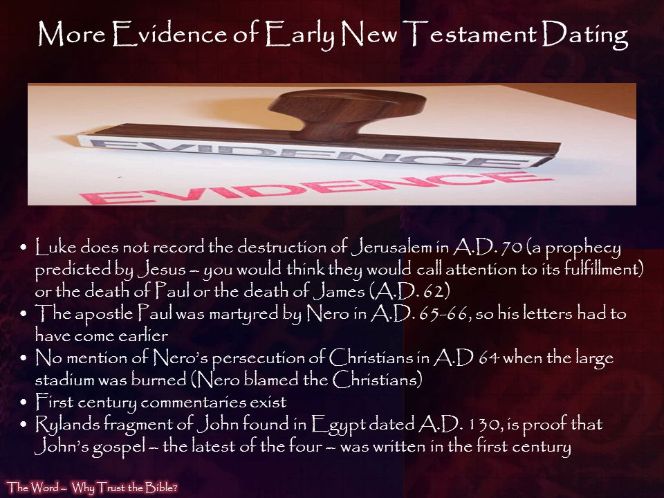 More Evidence of Early New Testament Dating