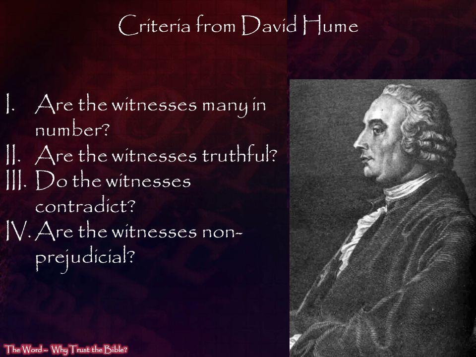Criteria from David Hume