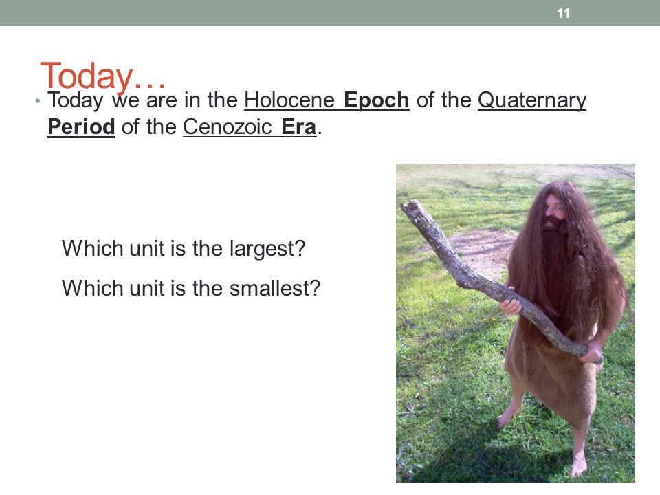 Today… Today we are in the Holocene Epoch of the Quaternary Period of the Cenozoic Era. Which unit is the largest