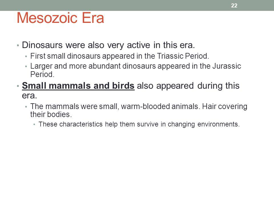 Mesozoic Era Dinosaurs were also very active in this era.