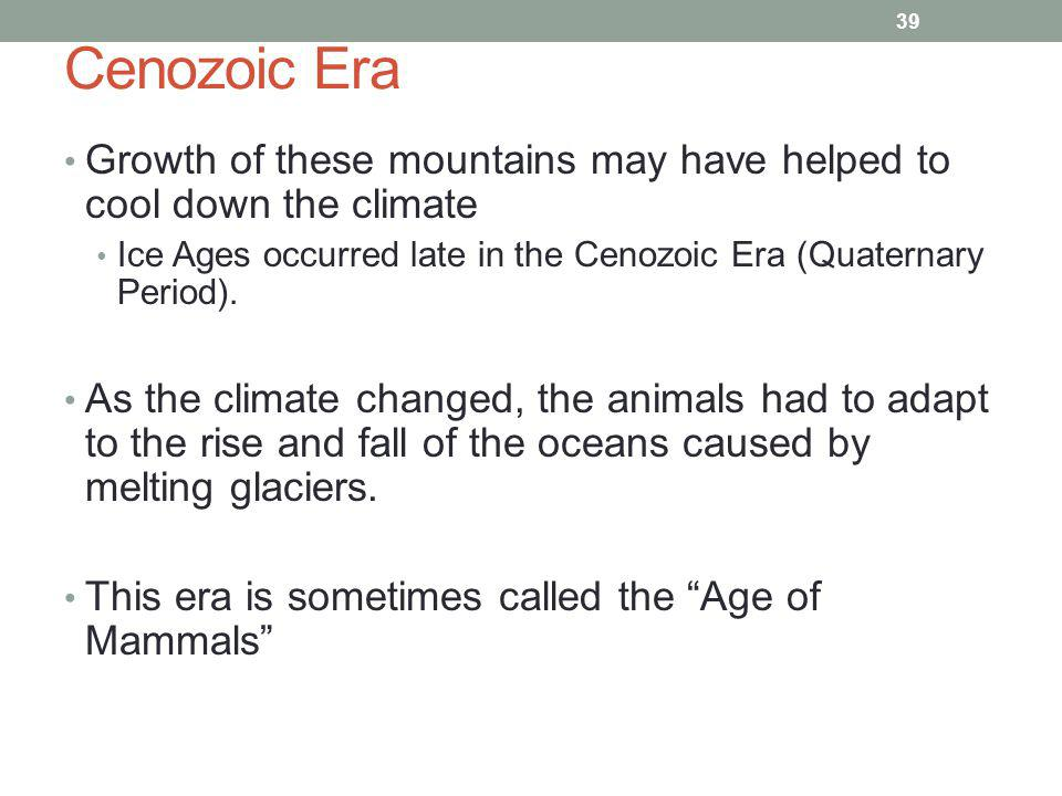Cenozoic Era Growth of these mountains may have helped to cool down the climate. Ice Ages occurred late in the Cenozoic Era (Quaternary Period).