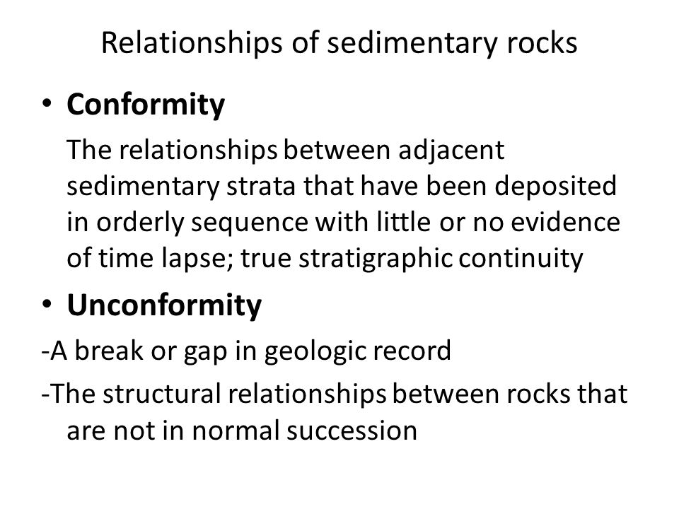 Relationships of sedimentary rocks