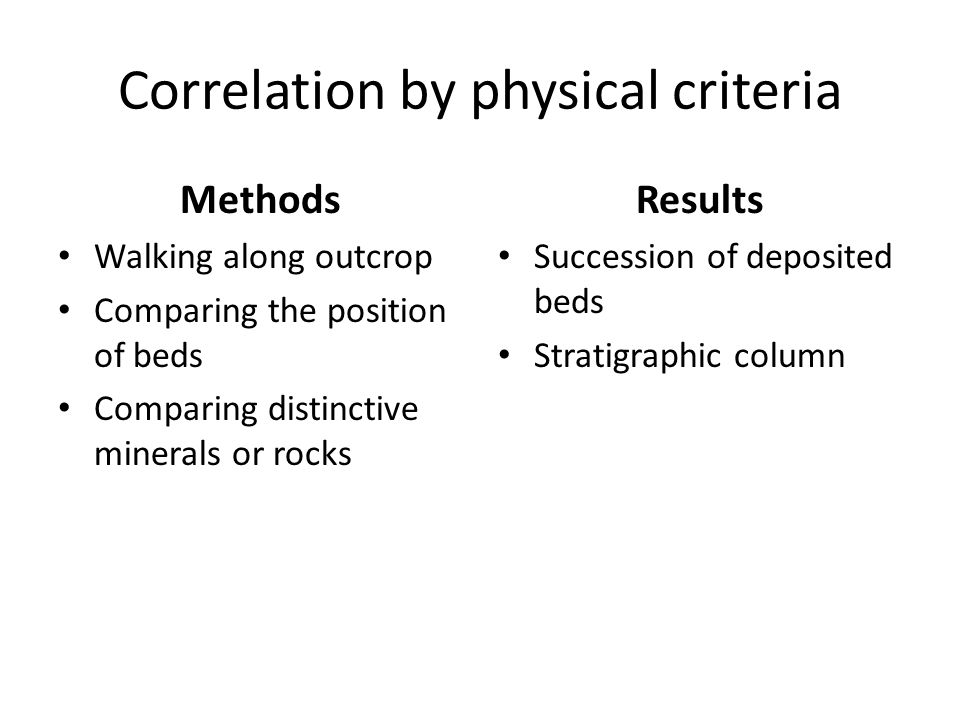Correlation by physical criteria