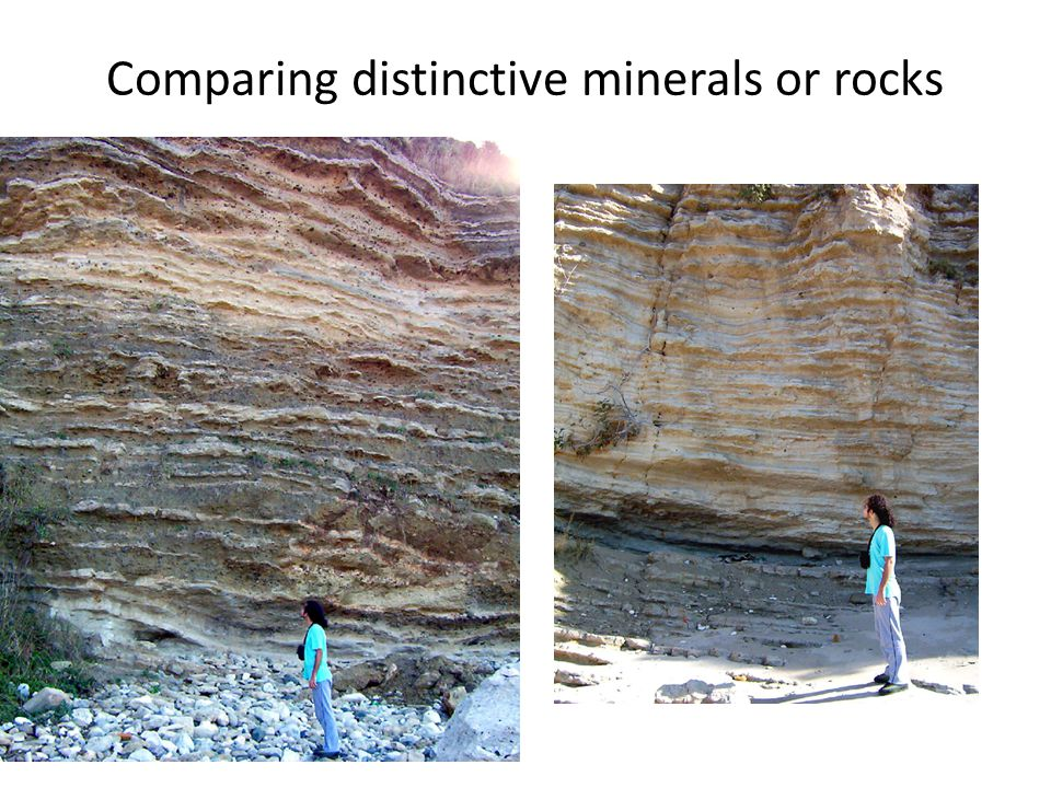 Comparing distinctive minerals or rocks