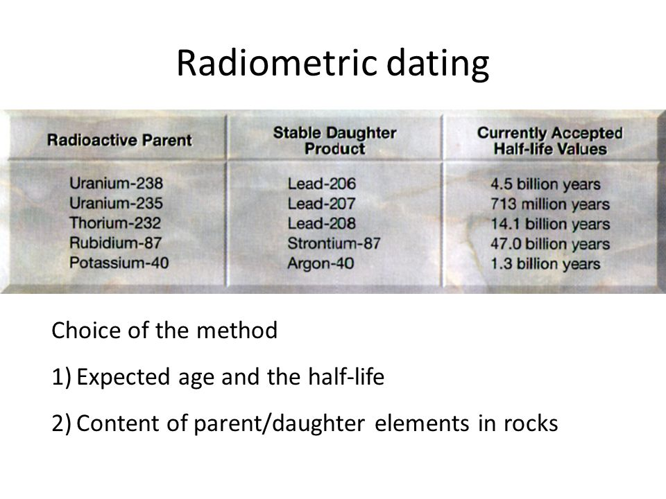Radiometric dating Choice of the method Expected age and the half-life
