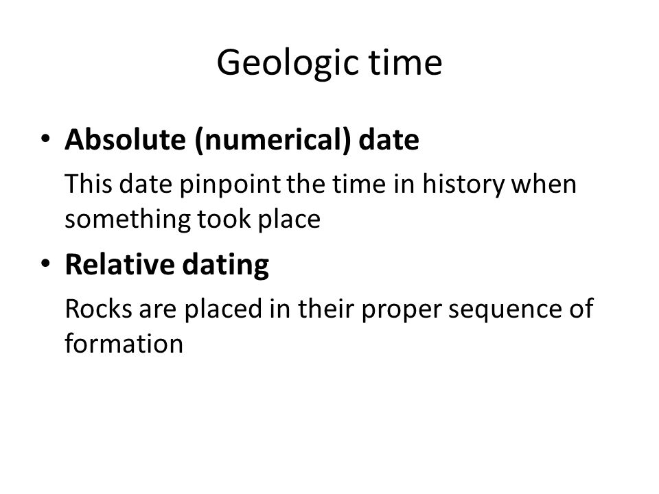 relative dating to absolute dating In the articles on stratigraphy we looked at what is called relative dating, where we could say that one geological feature was older or younger than another but without actually putting dates on them by contrast, absolute dating allows us to assign dates to geological features to avoid confusion.