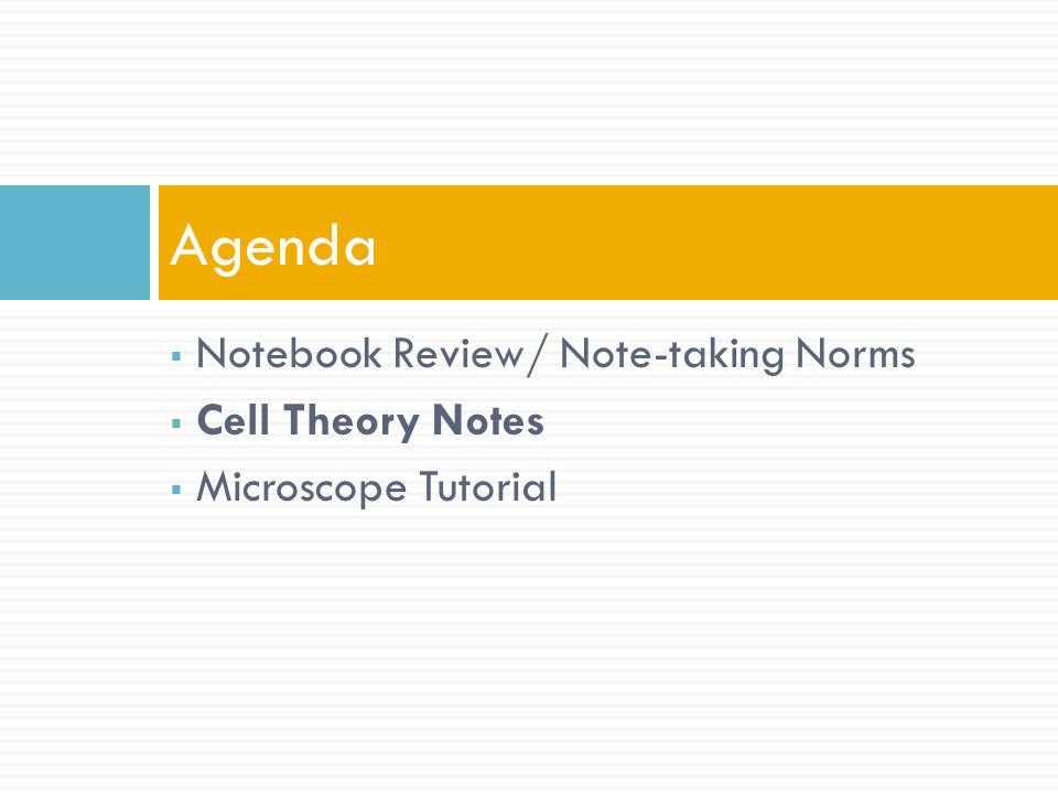 Agenda Notebook Review/ Note-taking Norms Cell Theory Notes