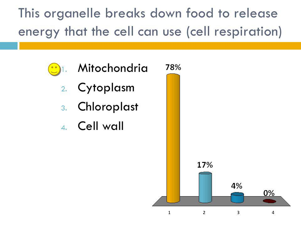 This organelle breaks down food to release energy that the cell can use (cell respiration)