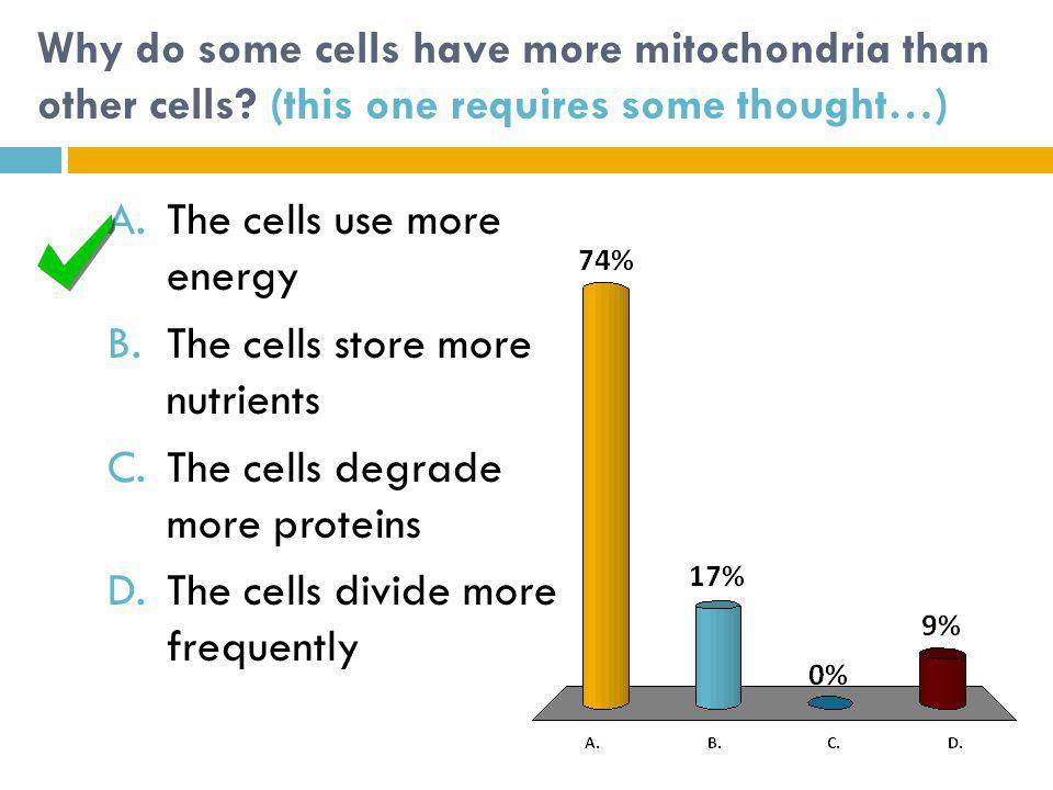 The cells use more energy The cells store more nutrients