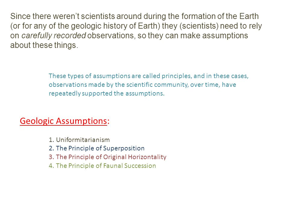 Geologic Assumptions: