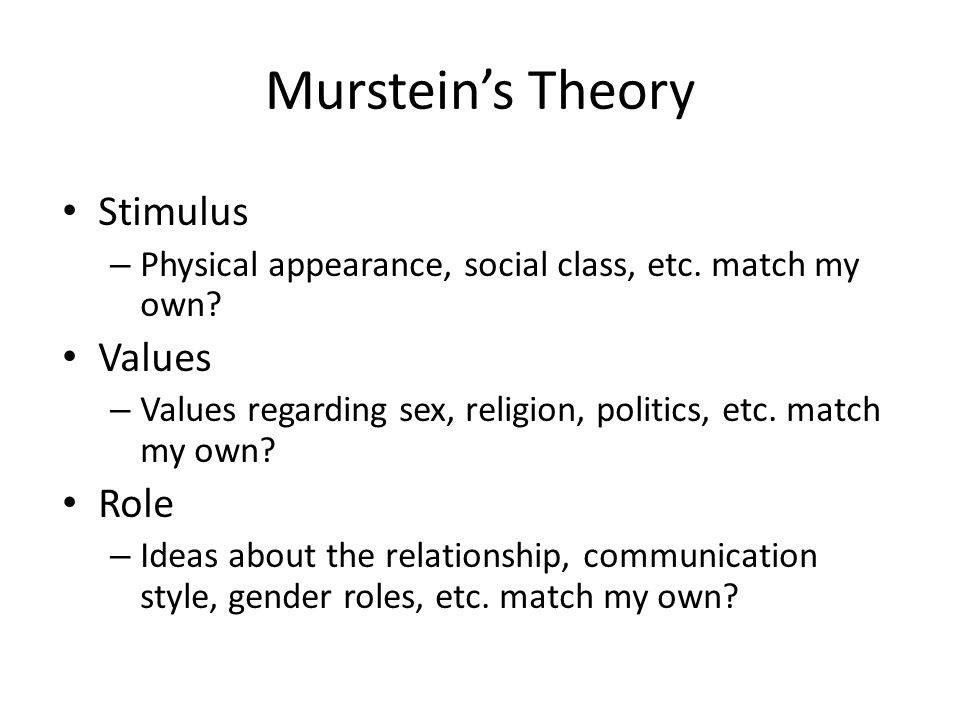 Murstein's Theory Stimulus Values Role