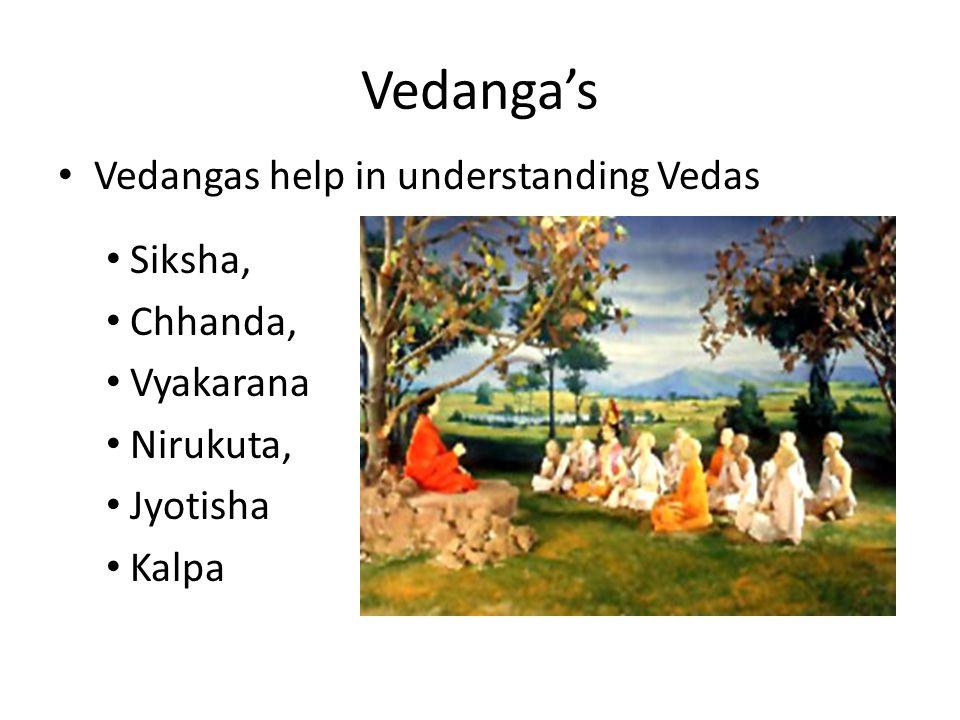 Vedanga's Vedangas help in understanding Vedas Siksha, Chhanda,