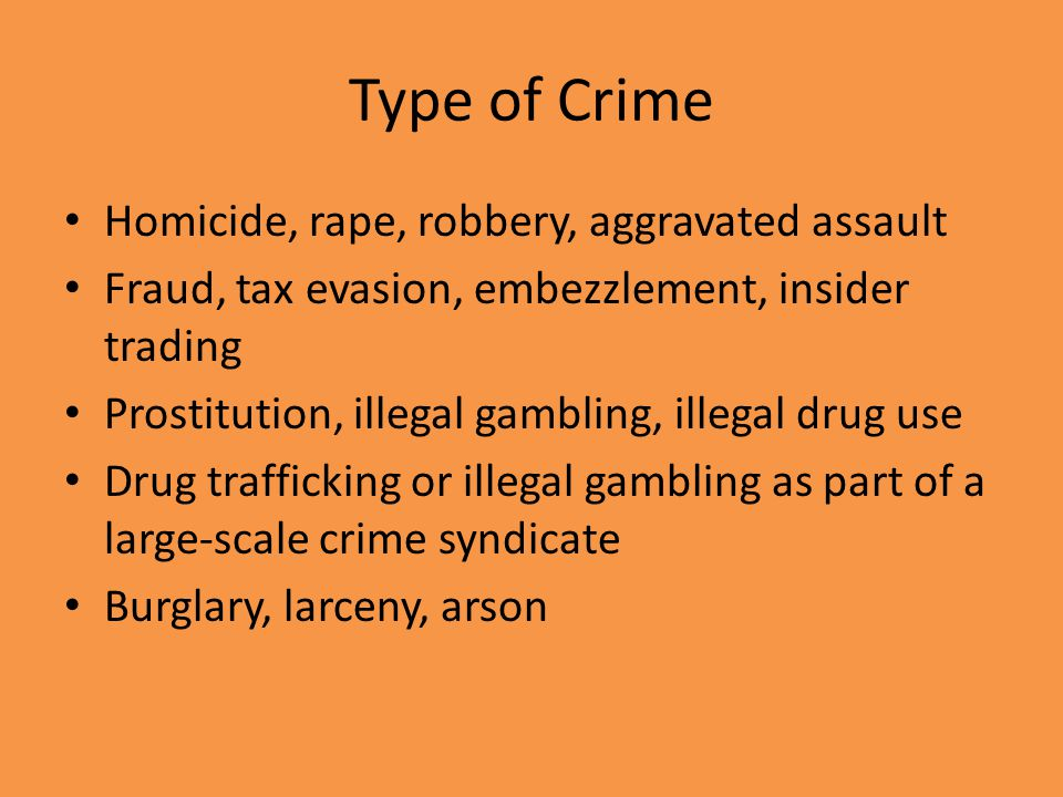 Type of Crime Homicide, rape, robbery, aggravated assault
