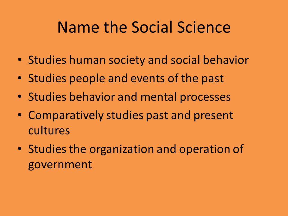 Name the Social Science