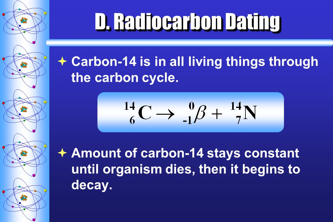 D. Radiocarbon Dating Carbon-14 is in all living things through the carbon cycle.