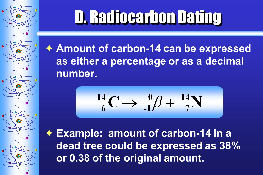 D. Radiocarbon Dating Amount of carbon-14 can be expressed as either a percentage or as a decimal number.