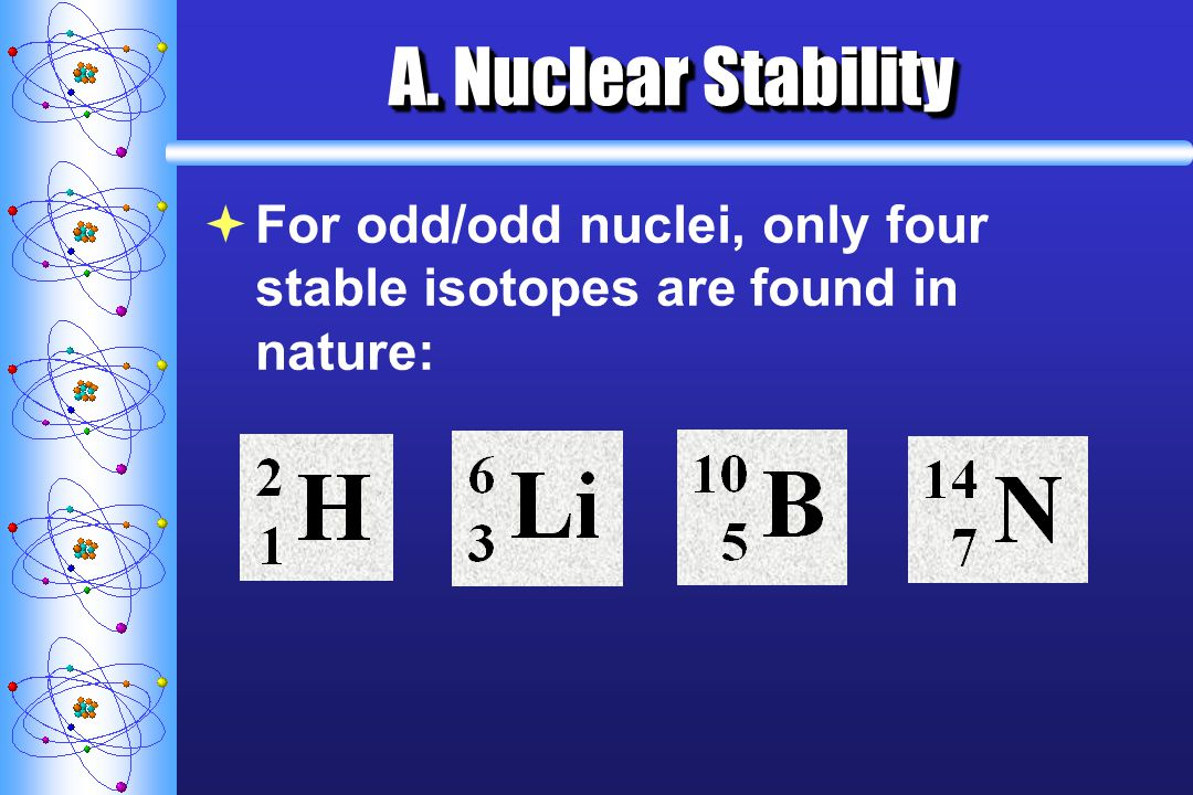 A. Nuclear Stability For odd/odd nuclei, only four stable isotopes are found in nature: