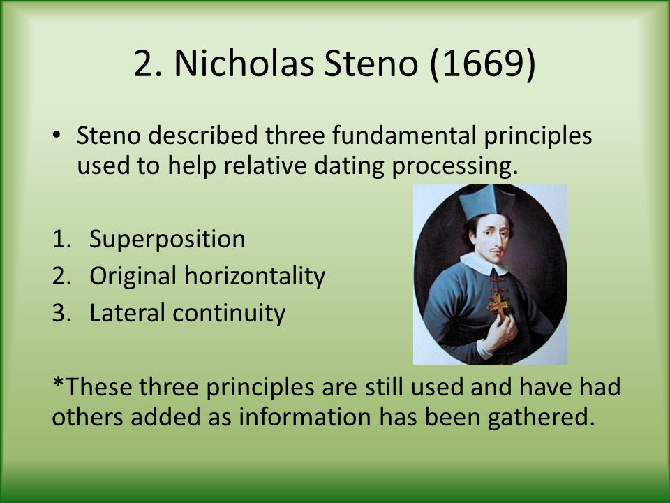 2. Nicholas Steno (1669) Steno described three fundamental principles used to help relative dating processing.