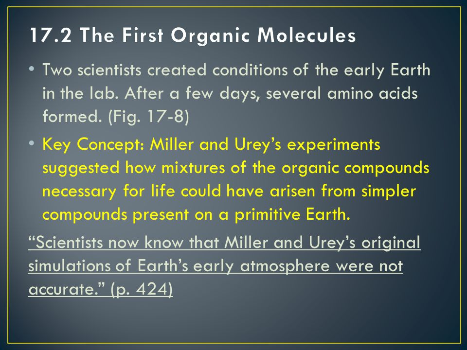 17.2 The First Organic Molecules