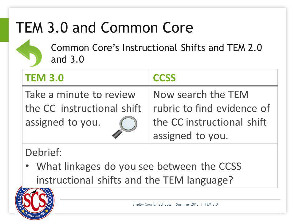 TEM 3.0 and Common Core TEM 3.0 CCSS
