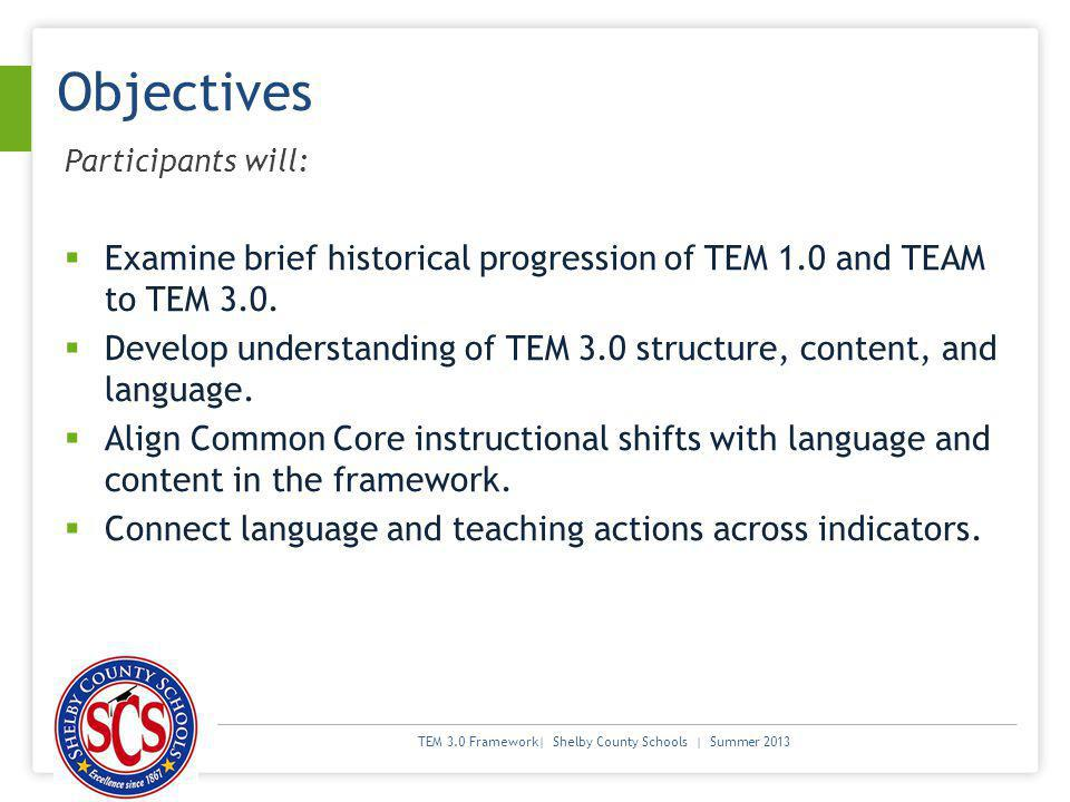 Objectives Participants will: Examine brief historical progression of TEM 1.0 and TEAM to TEM 3.0.