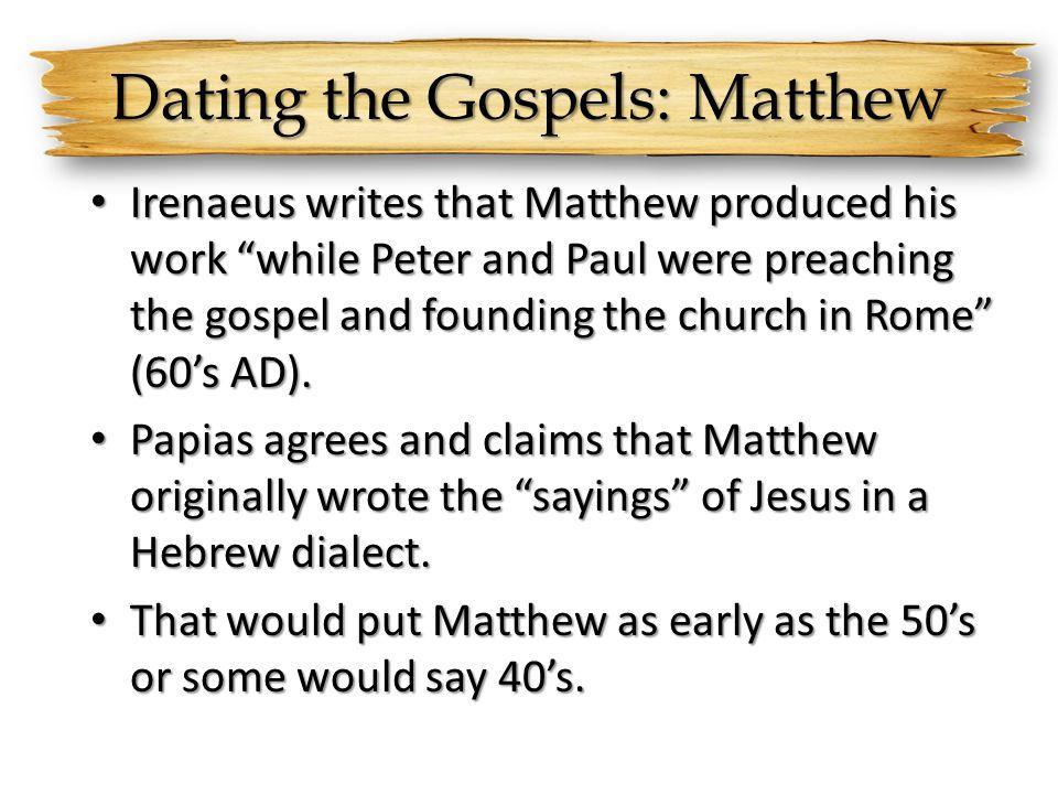 Dating the Gospels: Matthew