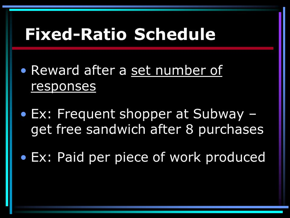 Fixed-Ratio Schedule Reward after a set number of responses