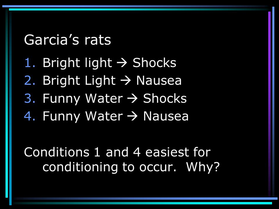 Garcia's rats Bright light  Shocks Bright Light  Nausea