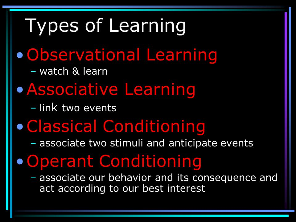 Types of Learning Observational Learning Associative Learning